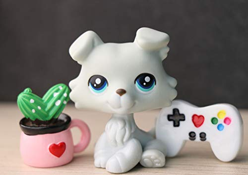 TLB Custom lps Baby Collie 363, OOAK Collie Gray with Blue Eyes DIY Collid Dog with lps Accessories Plant Games Collectable
