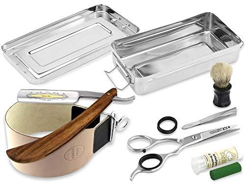 Solingen Paste Made in Germany im Rasiermesser Set | Rasier Set Zubehör | Extra breites Abziehleder | Holzgriff Rasiermesser mit Goldätzung