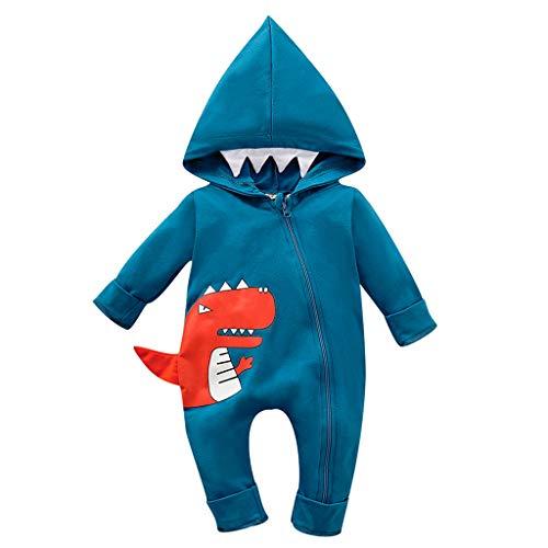 Babybekleidung Kleinkind Kind Baby Junge Outfits Kleidung Karikatur-Druck T-Shirt Tops Shorts Pants Hosen Cartoon Dinosaurier Streifen Stück Bekleidungssets Babyanzug (Alter: 12-18 Monate, Blau)