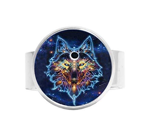 Keltische Wolf Ring Wilde Dier Sieraden Vintage Bedel Sieraden Glas Foto Sieraden