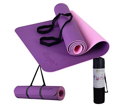WORPIN, Esterilla Deporte Yoga Pilates Fitness Colchoneta Gimnasia Antideslizante, 183x61cm con Funda y Correa de Hombro, Material TPE ecologico, Alfombra Deporte, Yoga, Facil Limpieza