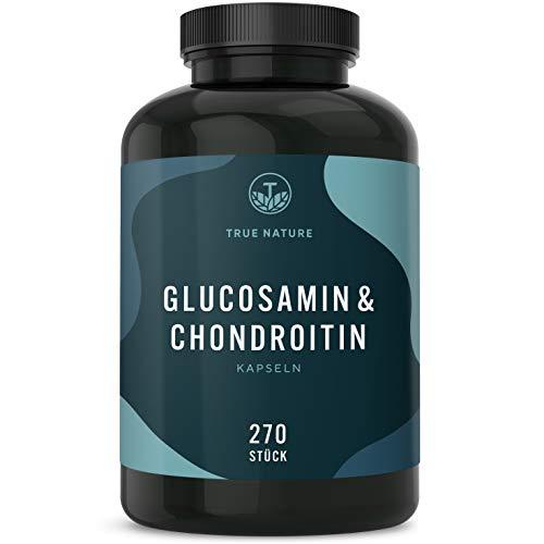 TRUE NATURE Glucosamin & Chondroitin Hochdosiert - mit 2700mg pro Tagesdosis - Einführungspreis - 270 Kapseln - Pharmazeutische Qualität - Mehrfach Laborgeprüft - Deutsche Produktion