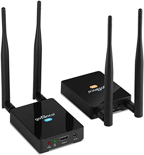 gofanco 328ft (100m) Wireless HDMI Extender Transmitter and Receiver Balun Kit & Adapter – Full HD 1080p, Dual Antenna, Long Range, Auto Detection 5GHz Freq, IR Extension Passback (HDwireless100)