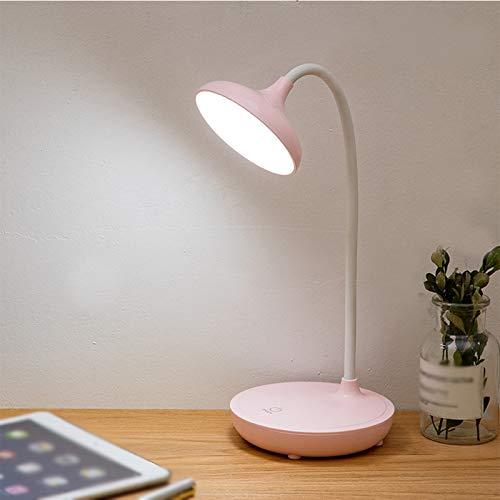 Carga USB, Aprendizaje de Lectura, lámpara de Escritorio con protección Ocular, lámpara de Escritorio táctil, el Tubo del Cuerpo de la lámpara se Puede torcer 360 Grados,Rosado