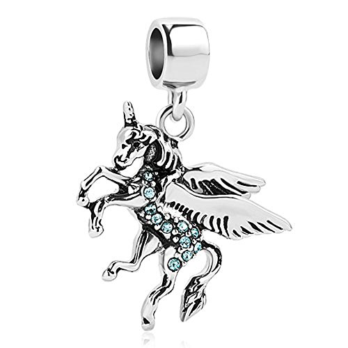 Sug Jasmin Dangle Blue Unicorn Charm Beads for Charms Bracelet