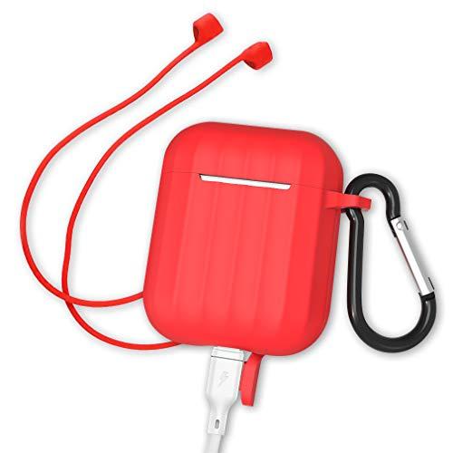 AirPods ケース Apple AirPods 第1/2世代に適用 シリコンカバー 保護ケース キズ防止 防水 防塵 滑り止め 耐衝撃 ストラップを送る (レッド)