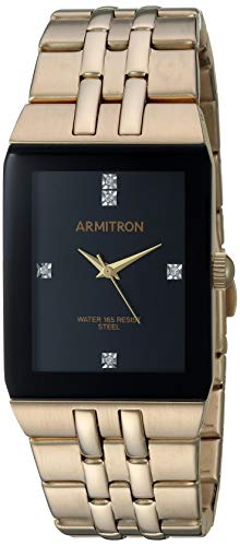 Armitron Men's 20/5316BKGP Genuine Crystal Accented Gold-Tone Watch