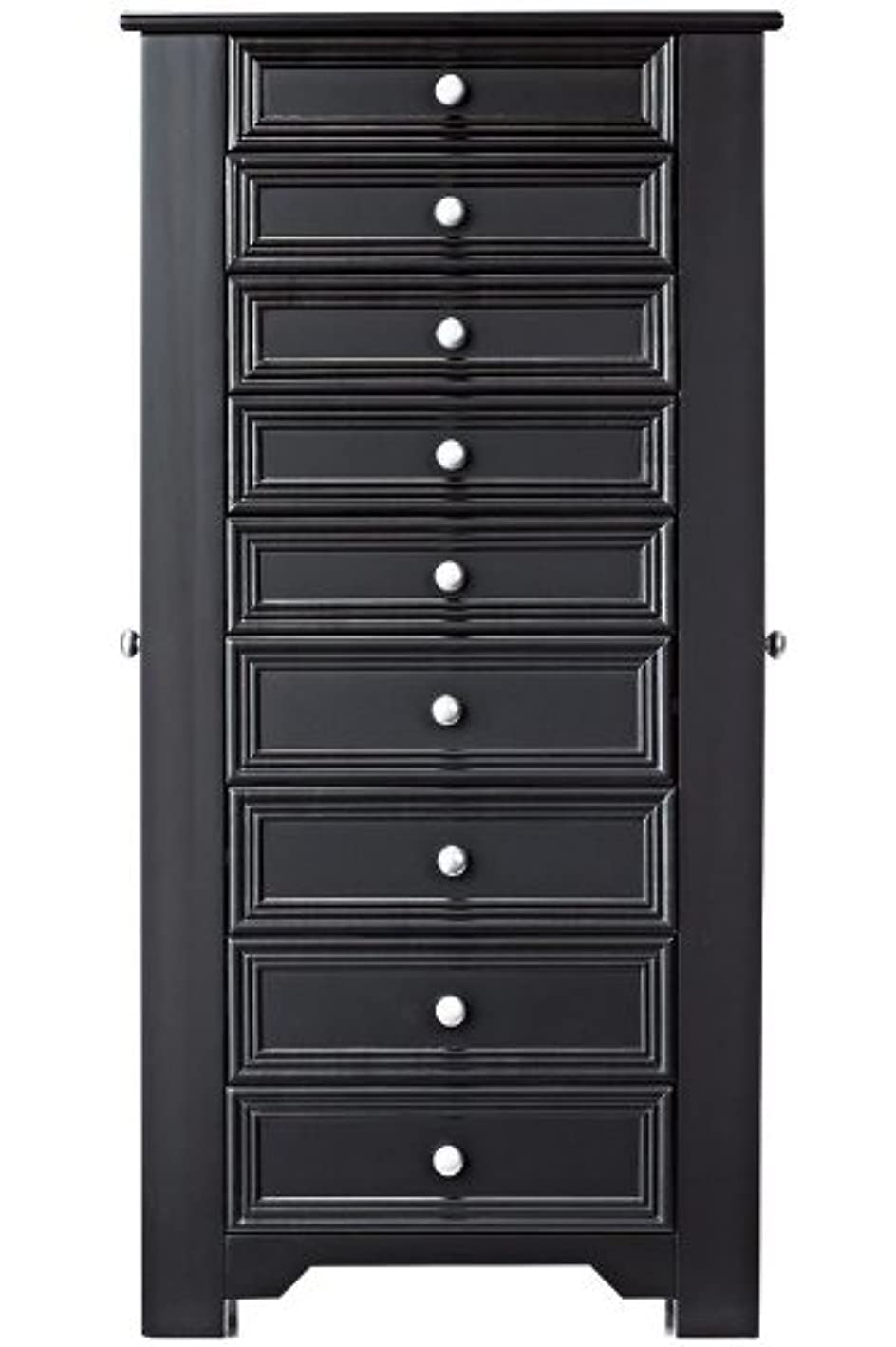 Oxford Lift Top Jewelry Armoire with Eight Drawers and Two Side Doors Black 40