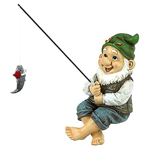 Garden Gnome Statue Ornaments Dwarf Fish Fishing Statue Garden GNOME Statue Resin Fishing Gnome Elf Figures Yard Lawn Outdoor