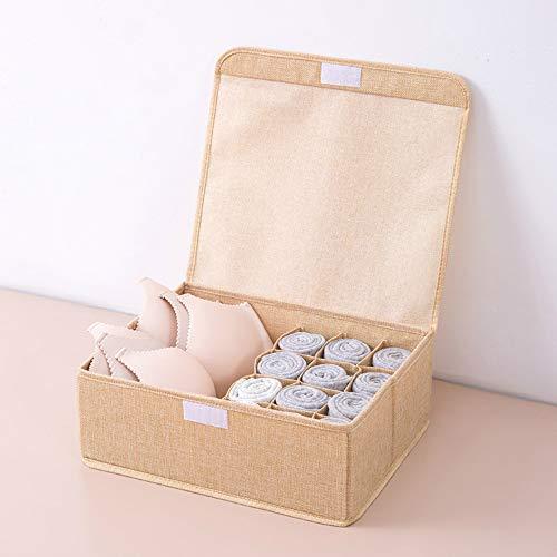 donfhfey827 Unterwäsche aus Baumwolle und Leinen, Aufbewahrungsbox für BHS und Socken, Multi-Grid, faltbar und Umweltschutz, Schublade mit Bezug, Stoffbox