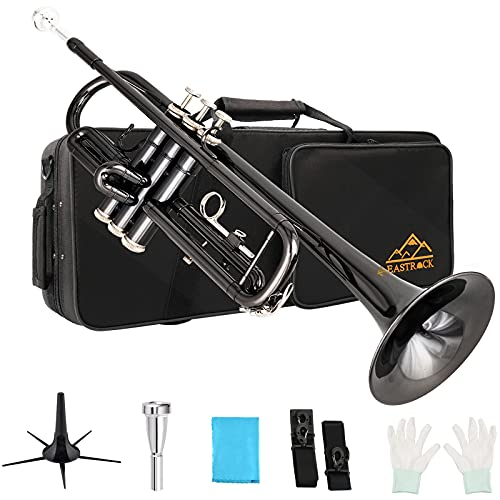 EASTROCK Trumpet Standard Brass Bb Black Nickel Trumpet Instrument with Carrying Case,Trumpet Stand,Gloves, 7C Mouthpiece and Cleaning Kit for Student Beginner