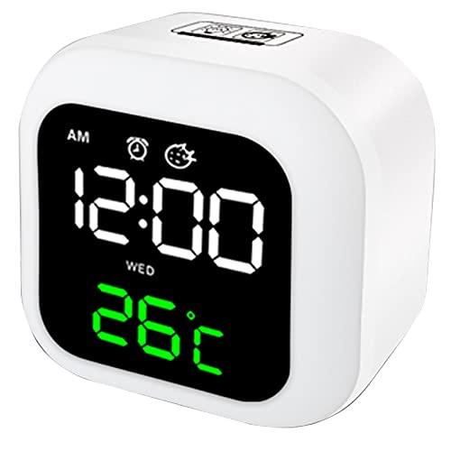 HBWH Reloj despertador, reloj despertador digital dormitorio, lindo reloj de noche para niños, reloj despertador y luz nocturna (blanco)