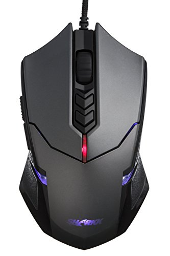 SHARKK® Wired Gaming Mouse with Programmable Buttons and Customizable Weight Tuning Cartridges High Precision Optical Gaming Mouse with Adjustable DPI Up to 3500