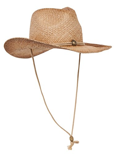 MG Tea Stain Raffia Straw Cowboy Hat (Natural), Natural Tea, Size One Size