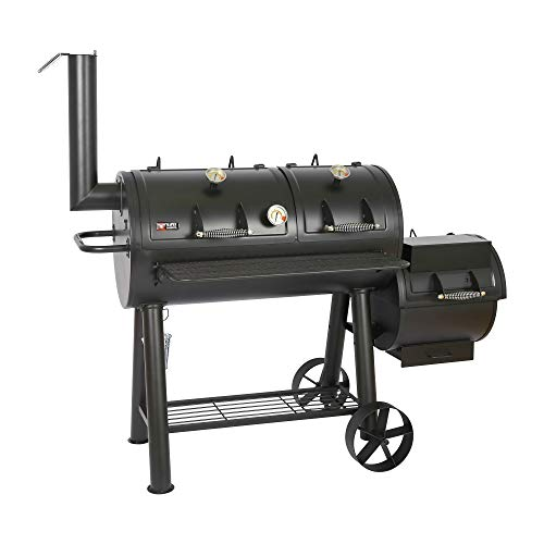 Mayer Barbecue Rucha Longhorn Smoker MS-600 Master Smoker - Barbacoa (20 pulgadas, 4950 cm², superficie de parrilla maciza, 129 kg), color negro