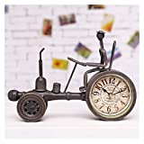 Fuxwlgs Alarm Clock Creative Vintage Metal Tractor Model Table Clock Decorative (Color : Coffee)