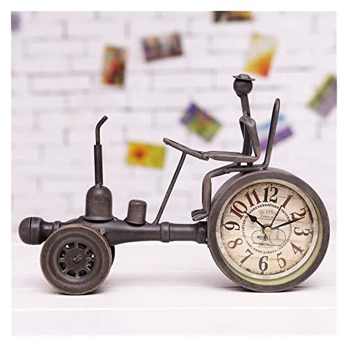 Wtuxchib Wecker Kreative Weinlese-Metall Traktor Modell Tischuhr Dekorative (Color : Coffee)