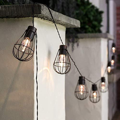 Guirlande Lumineuse Solaire,SUAVER Imperméable 10 Ampoule Boules LED avec lanterne en métal Lumière Décorative LED Lumières Cordes pour Jardin,Patio,Mariage,Party Décorations(Blanc chaud)