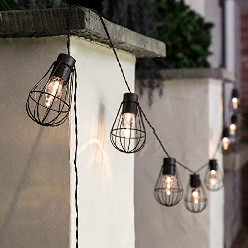 Outdoor Solar String Lights, 10LED Metalllaterne Solar Garden String Light Wasserdichtes Ambiente Dekoratives Licht Vintage Bulb String Lights Für Garten Outdoor Party