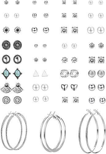YADOCA 33 Pares Conjunto de Aretes Múltiples Para Mujeres Niñas Corazon Redondas CZ Perlas Pendientes Stud Boho Pendiente Set Hipoalergénicos