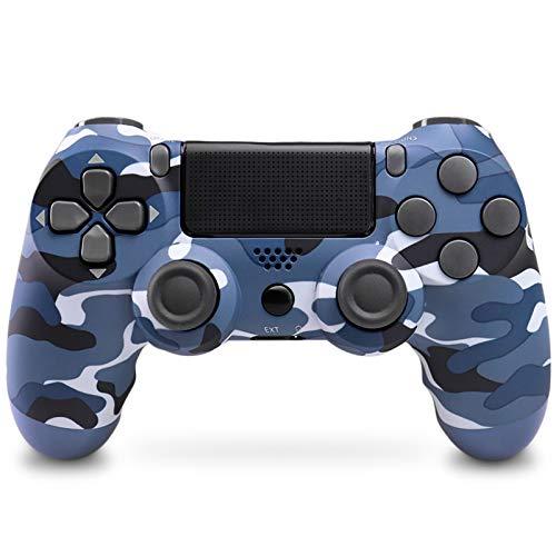 Mando Inalámbrico para PS4, Mando Inalámbrico Gamepad Doble Vibración Seis Ejes Mando Game Compatible con Playstation 4/PS4 Slim/PS4 Pro (Camuflaje azul)
