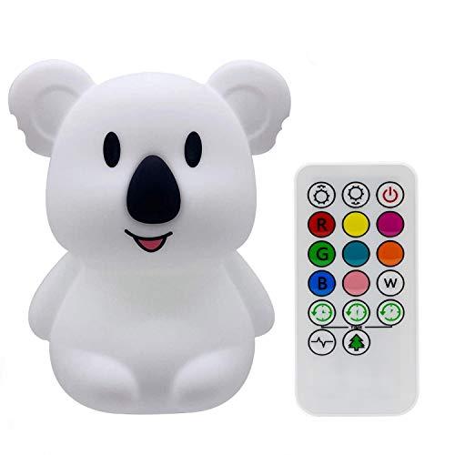 Grande Talla Koala luz nocturna infantil, luz quitamiedos, Lámpara de Noche - portátily USB recargable - lámpara infantil LED multicolor con mando, luz bebe Silicona suave y lavable - Grande