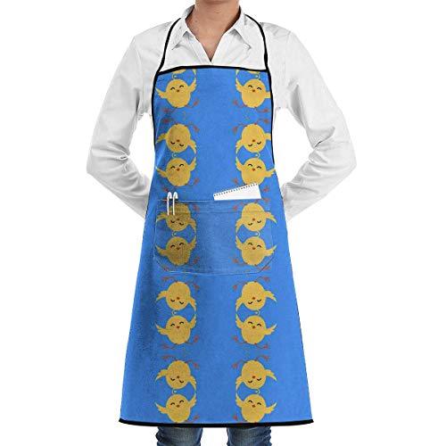 Drempad Cocina Chef Babero Delantal Chicken Paint Neck Waist Tie Center Kangaroo Pocket Waterproof
