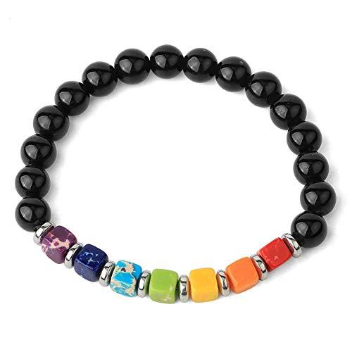 Pulseras De Hilo De Piedra Natural Cuadrado 7 Chakra Emperador Turquesas Bead Reiki Crystal Brazaletes Elásticos para Mujer-Obsidiana