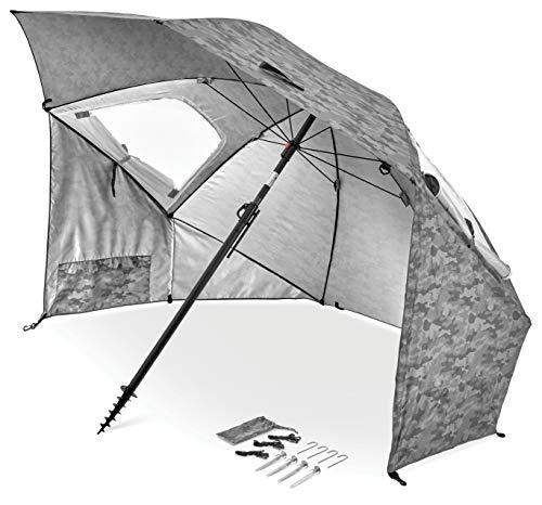 Sport-Brella Premiere UPF 50+ Umbrella Shelter for Sun and Rain Protection (8-Foot, Grey Camo)
