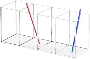 Acrylic Pen Holder, 4 Compartments, Pencil holder for desk, acrylic desk organizer,stationery storage box, cosmetic brush storage box, vanity storage box, (clear)