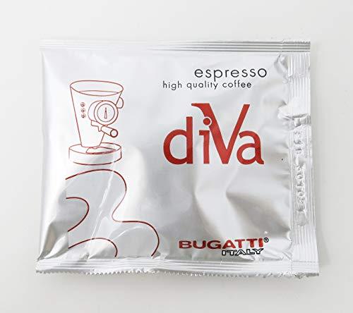 BUGATTI, Espresso-Kaffeepads, 150 Stück, kompatibel mit E.S.E. System, Durchmesser 44 mm, Papierfilter, gemahlener Kaffee, natürliche Röstung, kompatibel mit Diva und Diva Evolution