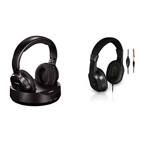 Thomson kabelloser Funk-Kopfhörer mit Ladestation (Over-Ear-Kopfhörer für Fernseher/TV) Schwarz & TV-Kopfhörer mit langem Kabel (Over-Ear, 8m Kabellänge, zum Fernsehen und Musik hören) schwarz