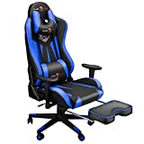 Ergonomic Big and Tall Gaming Chair with Footrest, Video Game Chair with Adjustable Headrest and Lumbar Support, 400LBS Computer Racing Chair, High Back Office PC Chairs for Adults and Teens Blue