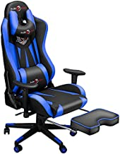 Ergonomic Gaming Chair with Footrest, Video Game Chair with Adjustable Headrest and Lumbar Support, 400LBS Computer Racing Chair, High Back Office PC Chairs for Adults and Teens Blue