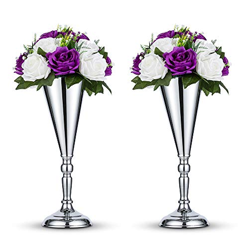 Nuptio 2 Stücke Silber Hochzeit Blume Trompete Vase Tabelle Dekorative Mittelstück Künstliche Blumenarrangements für Jubiläum Zeremonie Party Geburtstag Weihnachten Dekoration, Vasen für Tischdeko