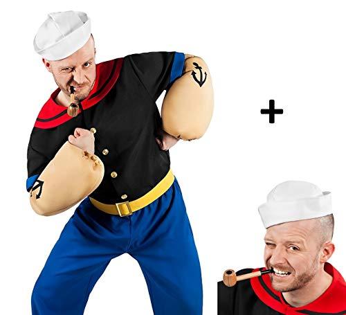 Popeye Comic Seemann Kostüm + Pfeife komplett - 7-teilig mit Hemd, Hose, Muskel-Armen, Matrosenmütze und Pfeife (XL)