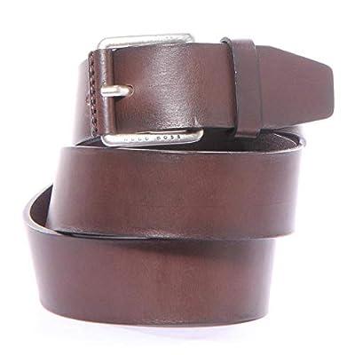 BOSS Orange Men's Boss Casual, Josua italian leather belt dark brown, 120