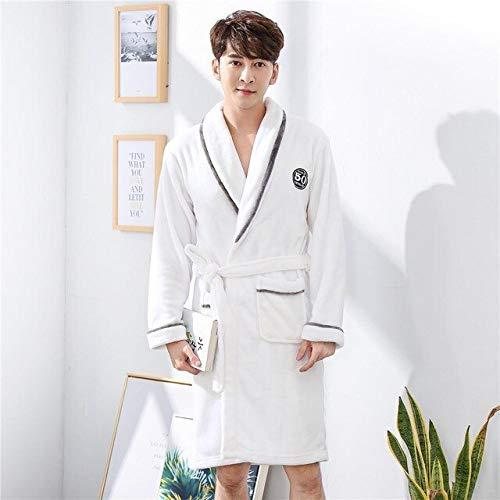 Coral Fleece Nachtwäsche Bademantel Kleid Warme Pyjamas Winter Männer Robe Home Kleidung Nachtkleid Nachtwäsche Große Größe Kimono-White1-1-M