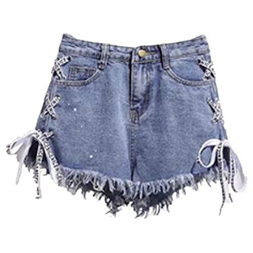 N\P Pantalones cortos de mezclilla inelásticos para mujer con correas de cintura borla verano femenino, azul, XXX-Large
