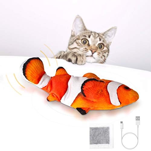 Peteast Katzenspielzeug, Bewegungs Elektro Realistische Wiggle Fisch Catnip Spielzeug, Plüsch Interactive Katzenspielzeug - Fisch Kicker Spielzeug für Katzen Kätzchen Kitty. (Clownfisch)
