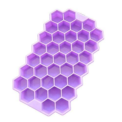 GUOLIANG Moldes para Pasteles 37 Cubos de Hielo Rejillas de Nido de Abeja for Hacer Helado Formulario DIY Molde de Paleta Moldes Yogurt Ice Box Nevera Trata Congelador, 2 PCS (Color : Purple)