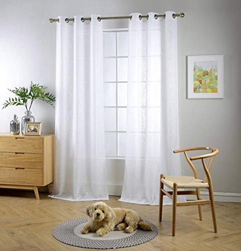 """Miuco White Sheer Curtains Poly Linen Textured Solid Grommet Curtains 95 Inches Long for French Doors 2 Panels (2 x 37 Wide x 95"""" Long) White"""