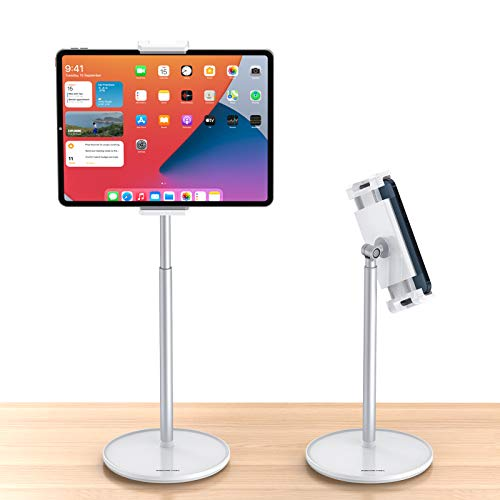AboveTEK Tablet Stand Holder, 360 Swivel Angle Height Adjustable Cell Phone Holder for Desktop, Aluminum iPad Mount Fits 4.5'-13.5' Tablet/Phones Such as iPhone Samsung Galaxy, iPad, Switch - Silver