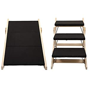 Sandinrayli Three-Step Portable Pet Stairs and Steps, Dual-use Foldable Stair and House Dog Stair Cover Black Carpet Steps