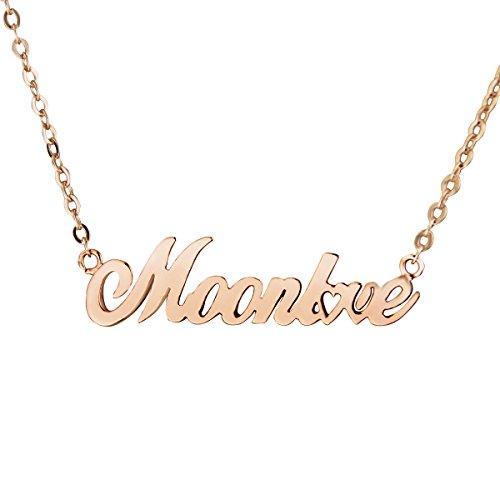 Personalisiert Namenskette Damen-Kette mit Anhänger personalisierbar 18K Rosegold Halskette bedruckt mit Ihrem Wunschtext