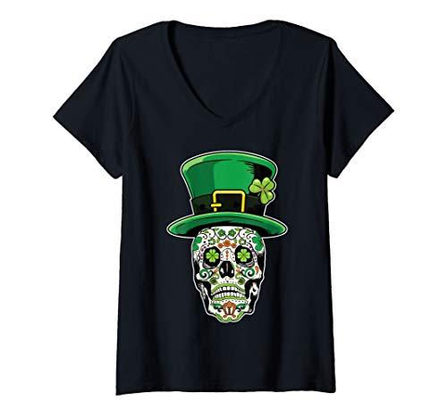 Womens Sugar Skull Saint Patricks Day of Dead V-Neck T-Shirt