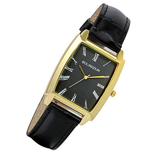 Lancardo 2PCS Herren Armbanduhr, Analog Quarz, Elegent Business Uhr mit römischen ziffern, Legierung, Leder Armband, Schwarz Zifferblatt, Gold Kase
