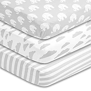 BaeBae Goods Premium Crib Sheets for Baby Boys and Girls, 3 Pack, Soft and Breathable Jersey Cotton Fitted Sheet Set, Grey and White, Cute Gender Neutral Nursery Mattress Bedding, Universal Fit