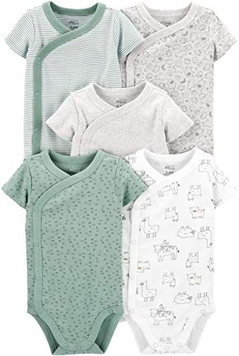 Simple Joys by Carter s Baby 5 Pack Short Sleeve Side Snap Bodysuit Green Prints Newborn product image