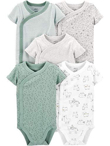 Simple Joys by Carter's Baby 5-Pack Short Sleeve Side Snap Bodysuit, Green Prints, Newborn Iowa